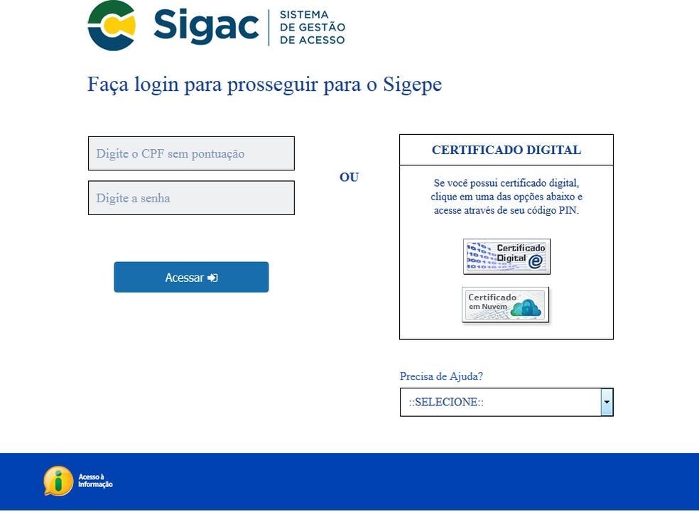 Página que dá acesso ao Sigepe exige login e senha ou uso de certificado digital — Foto: Ministério do Planejamento/Reprodução