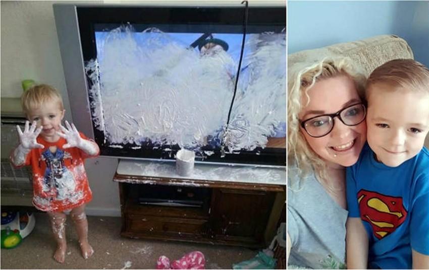 criança destrói TV (Foto: Reprodução The Sun)