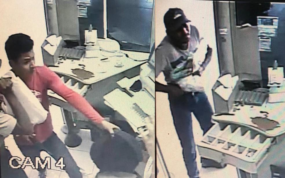 Polícia pediu ajuda para identificar bandidos que assaltaram lotérica ao lado de delegacia na Zona da Mata Sul de Pernambuco — Foto: Reprodução/WhatsApp