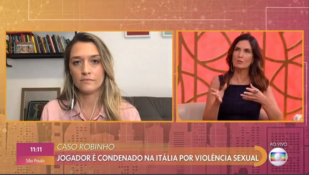 No 'Encontro', Fátima Bernardes repercute caso Robinho com a repórter esportiva Ana Taís Matos — Foto: TV Globo
