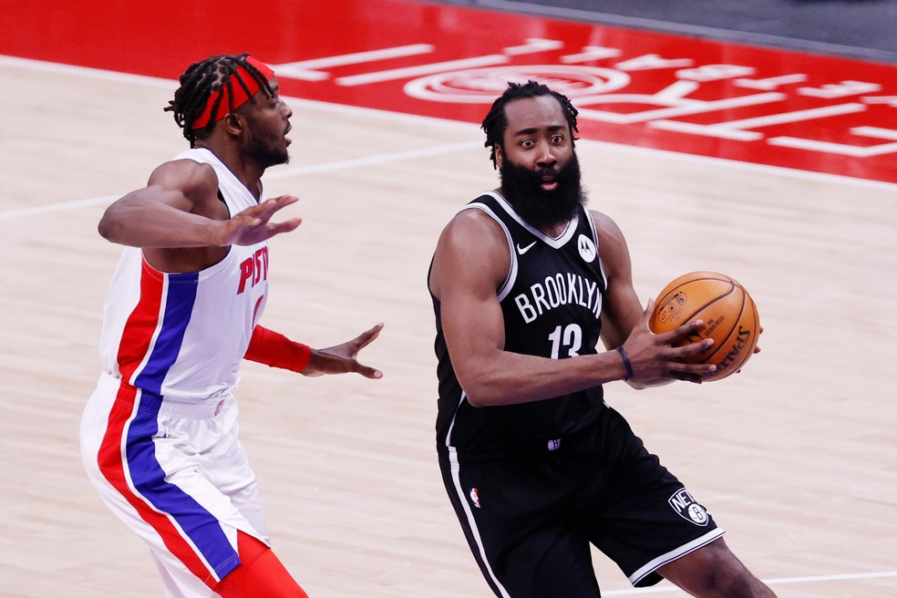 James Harden NBA Nets x Pistons — Foto: Rick Osentoski-USA TODAY Sports