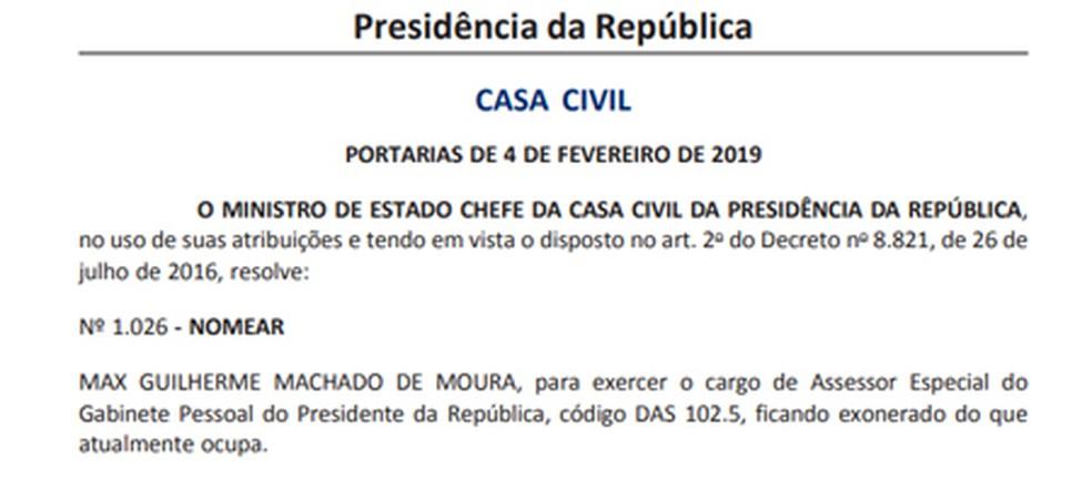 Max Guilherme Machado de Moura é assessor do presidente Bolsonaro — Foto: Reprodução
