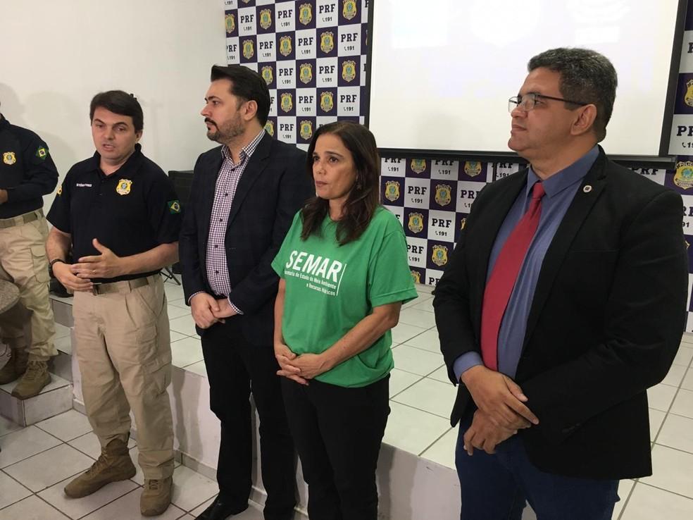 Divulgação do resultado da operação no Piauí — Foto: Murilo Lucena/TV Clube