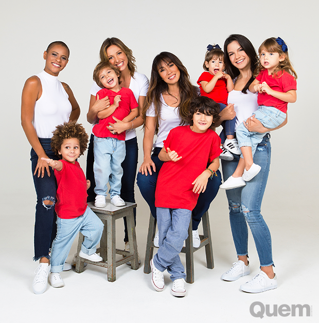 Aline Wirley, Luisa Mell, Danni Suzuki e Kyra Gracie com seus filhos (Foto: Anna Fischer)