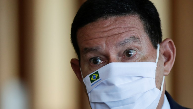 Vice-presidente Hamilton Mourão durante entrevista coletiva em Brasília em maio de 2021 (Foto: Ueslei Marcelino/Reuters)