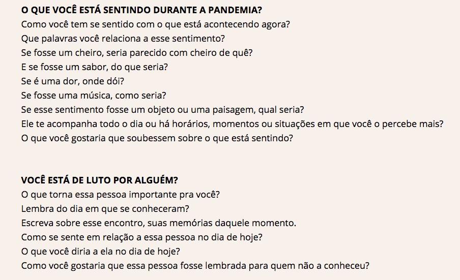 A partir de perguntas simples, as pessoas podem treinar a escrita de textos e frases que podem aliviar a dor da pandemia (Foto: Reprodução/apalavranoagora)
