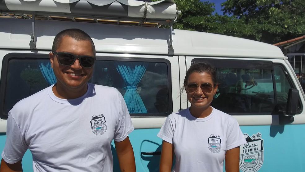 Casal viaja o Brasil em Kombi (Foto: Viviane Machado/ G1)
