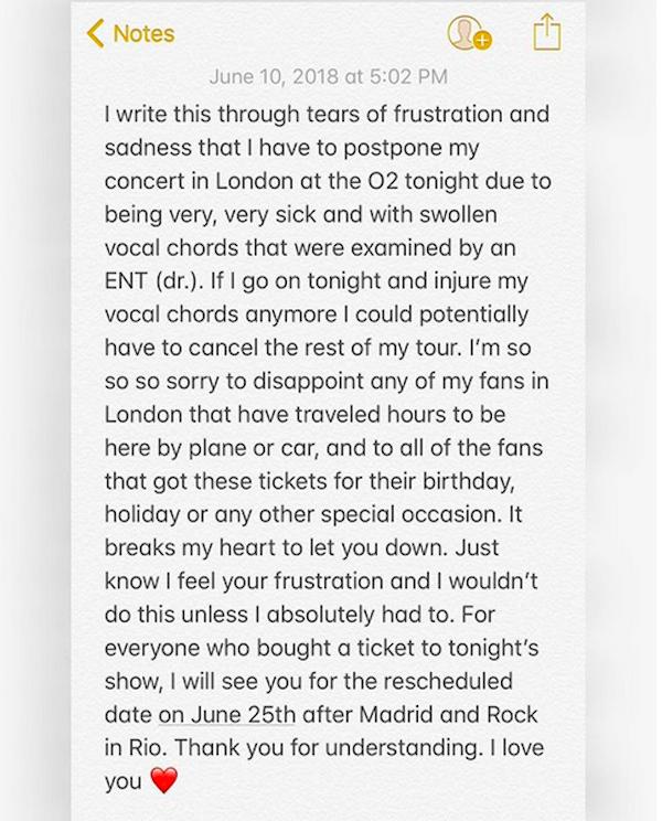 O pedido de desculpas público de Demi Lovato em decorrência do cancelamento de seu show em Londres (Foto: Instagram)
