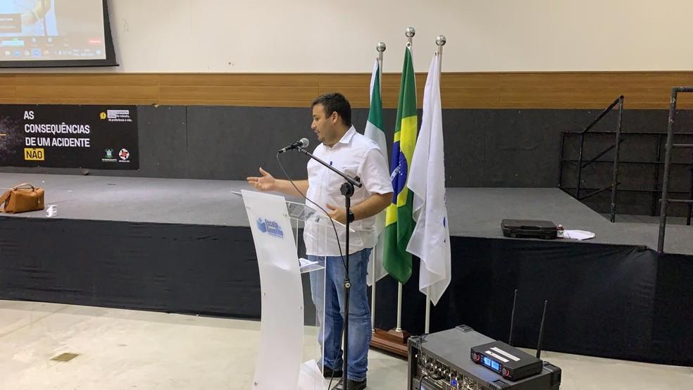 Prefeito de Caicó, Judas Tadeu dos Santos, durante reunião sobre vacinação contra Covid-19 no RN. — Foto: Anna Alyne Cunha/Inter TV Cabugi