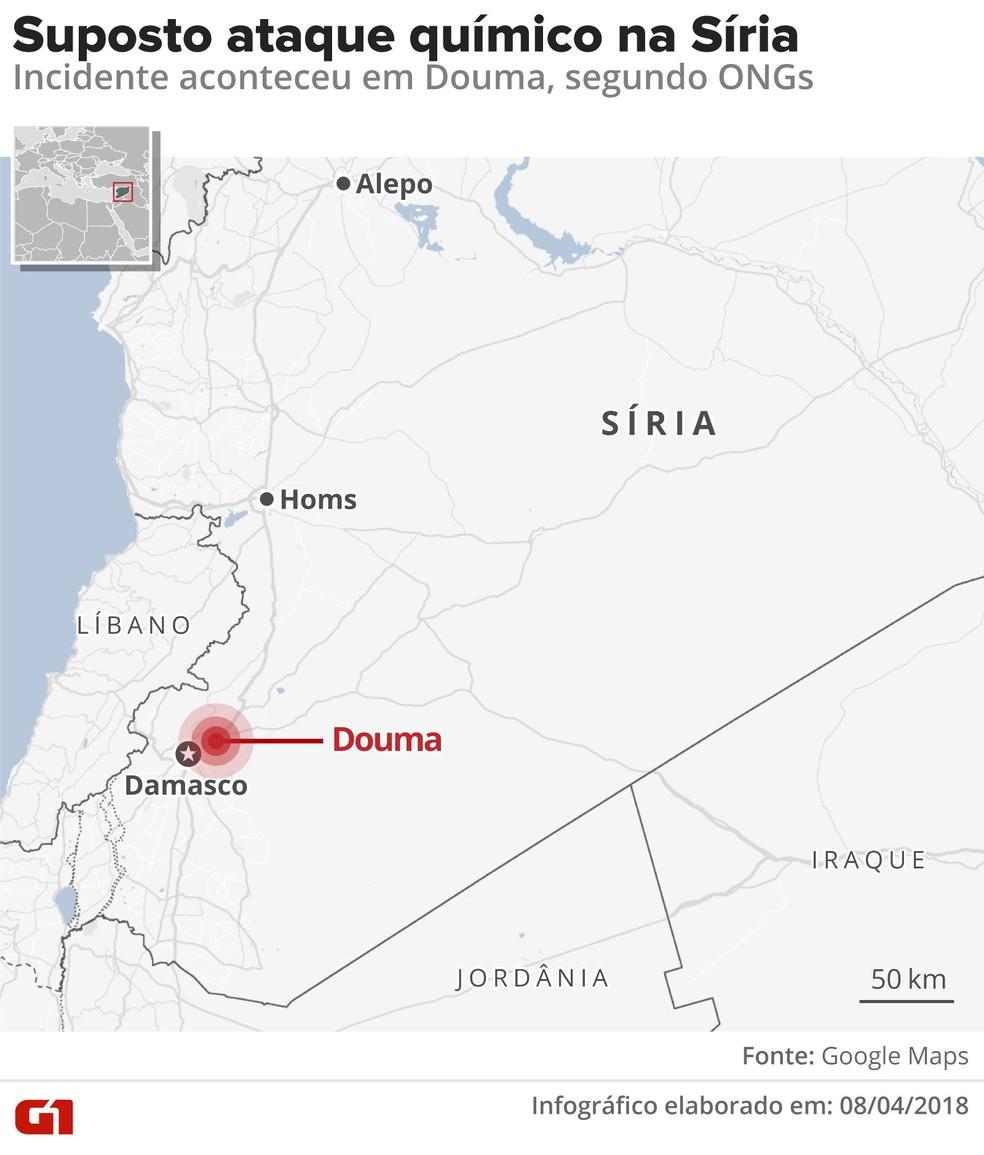Suposto ataque químico ocorreu na Síria (Foto: Alexandre Mauro/G1)