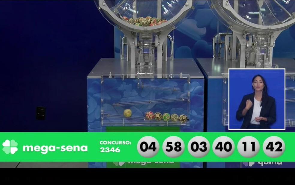 Números sorteados no concurso 2.346 da Mega Sena — Foto: Reprodução/Facebook/CEF