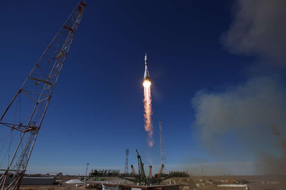 Lançamento da Soyuz-MS10 em 11/10 (Foto: NASA)