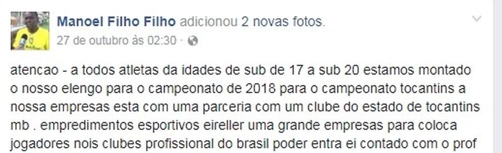 Em postagem Manoel convida jovens jogadores para campeonatos em 2018 (Foto: Facebook/Reprodução )