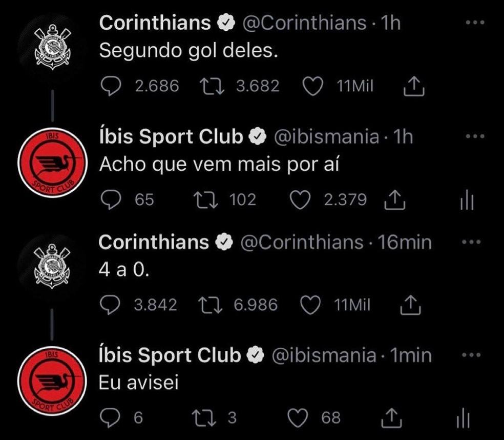 Íbis provoca Corinthians durante e após a goleada sofrida pelo time paulista na Sul-Americana — Foto: Reprodução