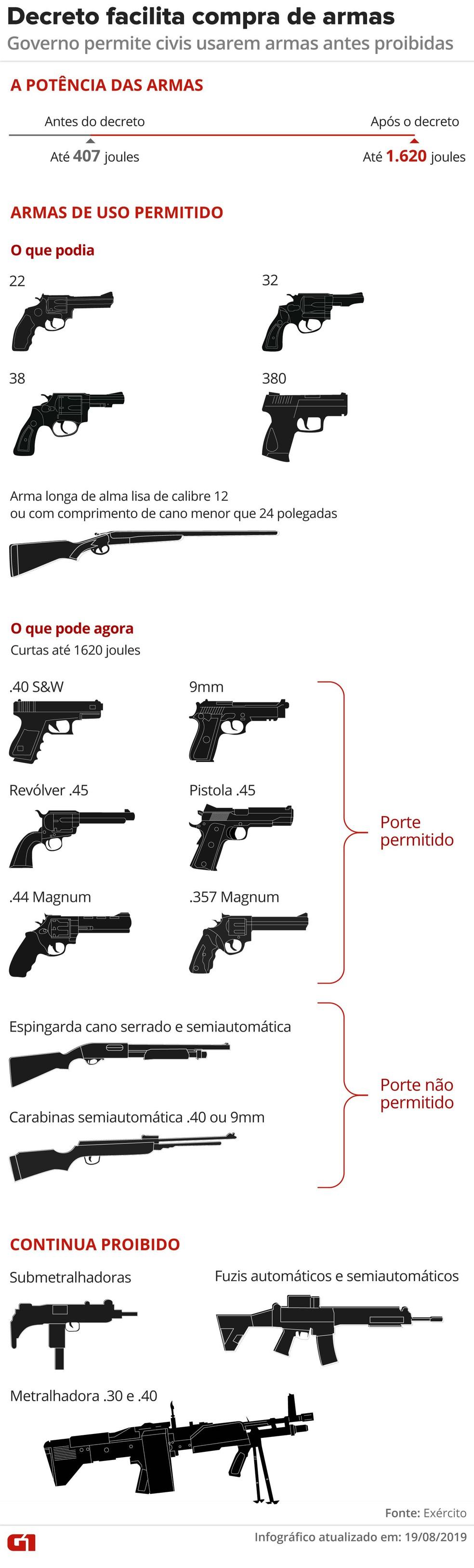 Arte mostra armas que poderão ser usadas por cidadão comum — Foto: Rodrigo Sanches/Arte G1