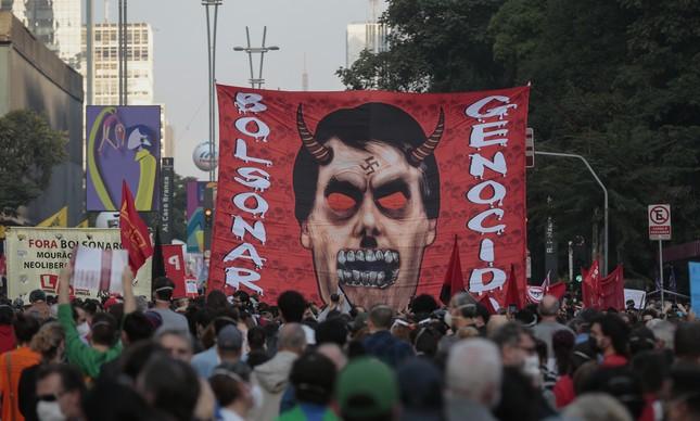 Manifestação contra Jair Bolsonaro em São Paulo
