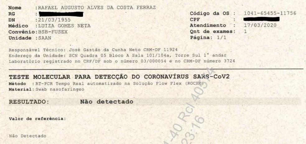 Segundo exame entregue ao Supremo Tribunal Federal, em processo sobre testagem de Jair Bolsonaro — Foto: STF/Reprodução