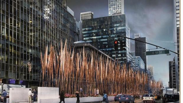 Um dos finalistas quer construir uma passagem para os pedestres cercada de vegetação entre a avenida e os prédios  (Foto: Divulgação/Wilkinson Architects/Fisher Brothers)