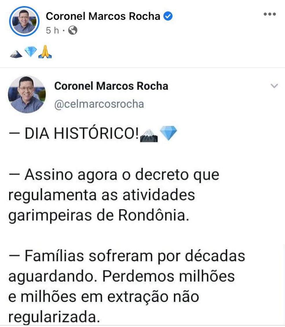Marcos Rocha comemora regulamentação de atividades garimpeiras em Rondônia — Foto: Reprodução/Facebook