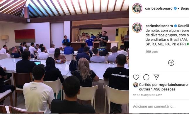 Publicação do Carlos Bolsonaro sobre a reunião