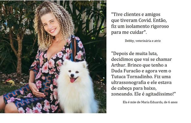 Debby está grávida de cinco meses e meio. Ela é mulher do veterinário Leandro (Foto: Reprodução)