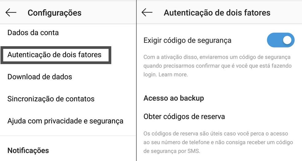 Hoje, autenticação de dois fatores do Instagram, disponível nas configurações do aplicativo, é feita somente por torpedo SMS. (Foto: Reprodução)