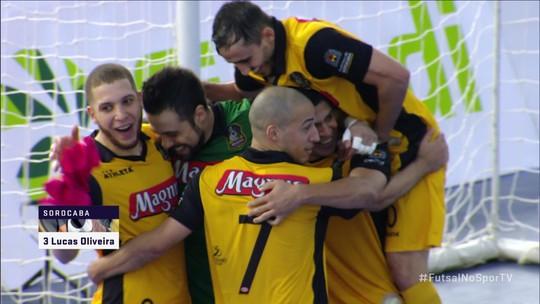 Os gols de Sorocaba 4 x 1 Campos Mourão pelas quartas de final da Liga Nacional de Futsal