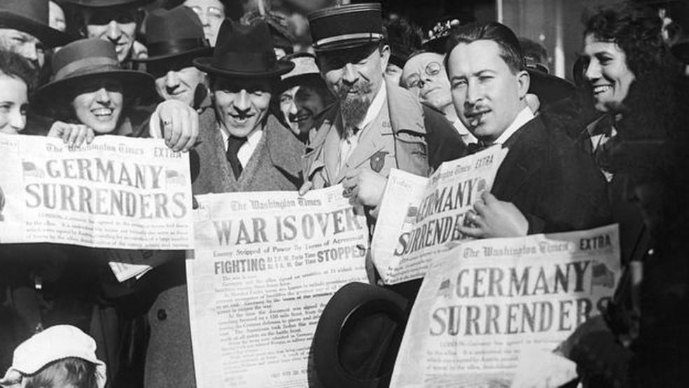 Schumpeter viveu a Primeira Guerra Mundial, que causou grandes estragos na Europa — Foto: Getty Images