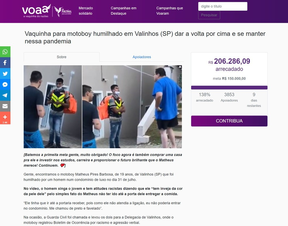 Mobilização on-li já arrecadou mais de R$ 206 mil — Foto: Reprodução/voaa