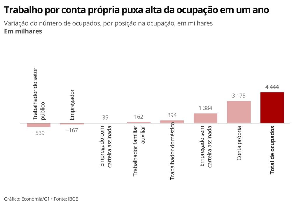 Das 4.444 pessoas que entraram para o mercado de trabalho, 3.175 eram trabalhadores por conta própria — Foto: Economia/G1