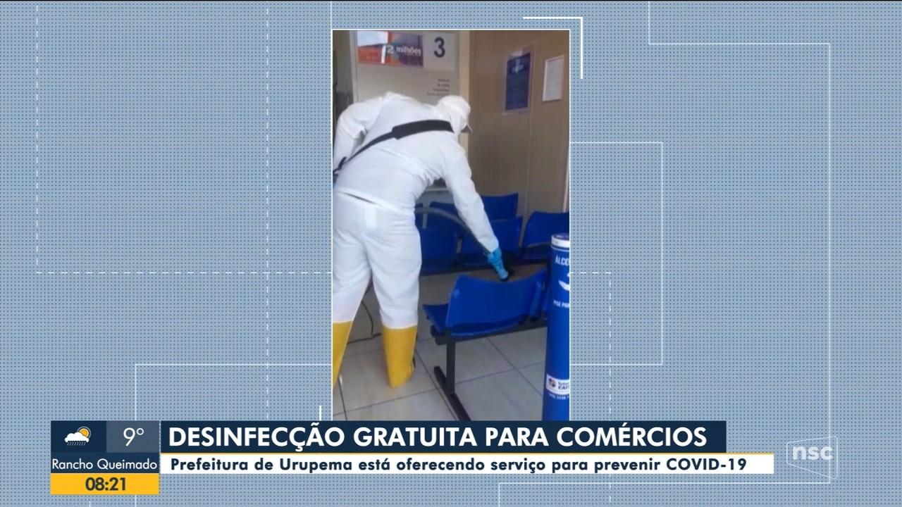 Prefeitura de Urupema oferece desinfecção em comércios para prevenir Covid-19