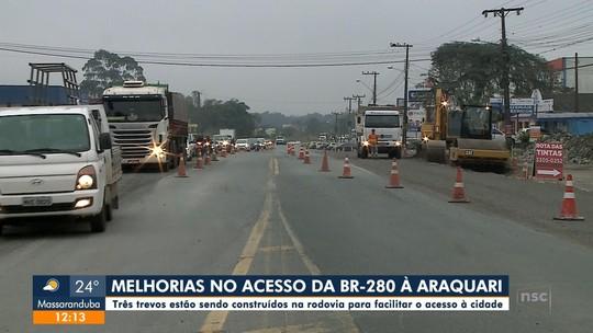 Trevos estão sendo construídos na BR-280 para facilitar acesso