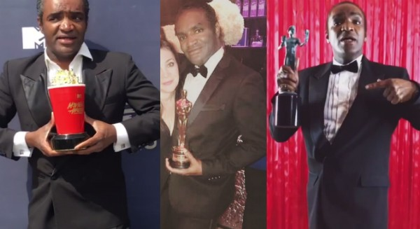 Terry Bryant segurando um Oscar, um prêmio do MTV Movie Awards e o troféu do Sindicato dos Atores de Hollywood (Foto: Instagram)
