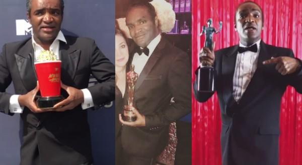 Terry Bryant segurando um Oscar, um prêmio do MTV Movie Awards e o troféu do Sindicato dos Atores de Hollywood (Foto: Instagram)