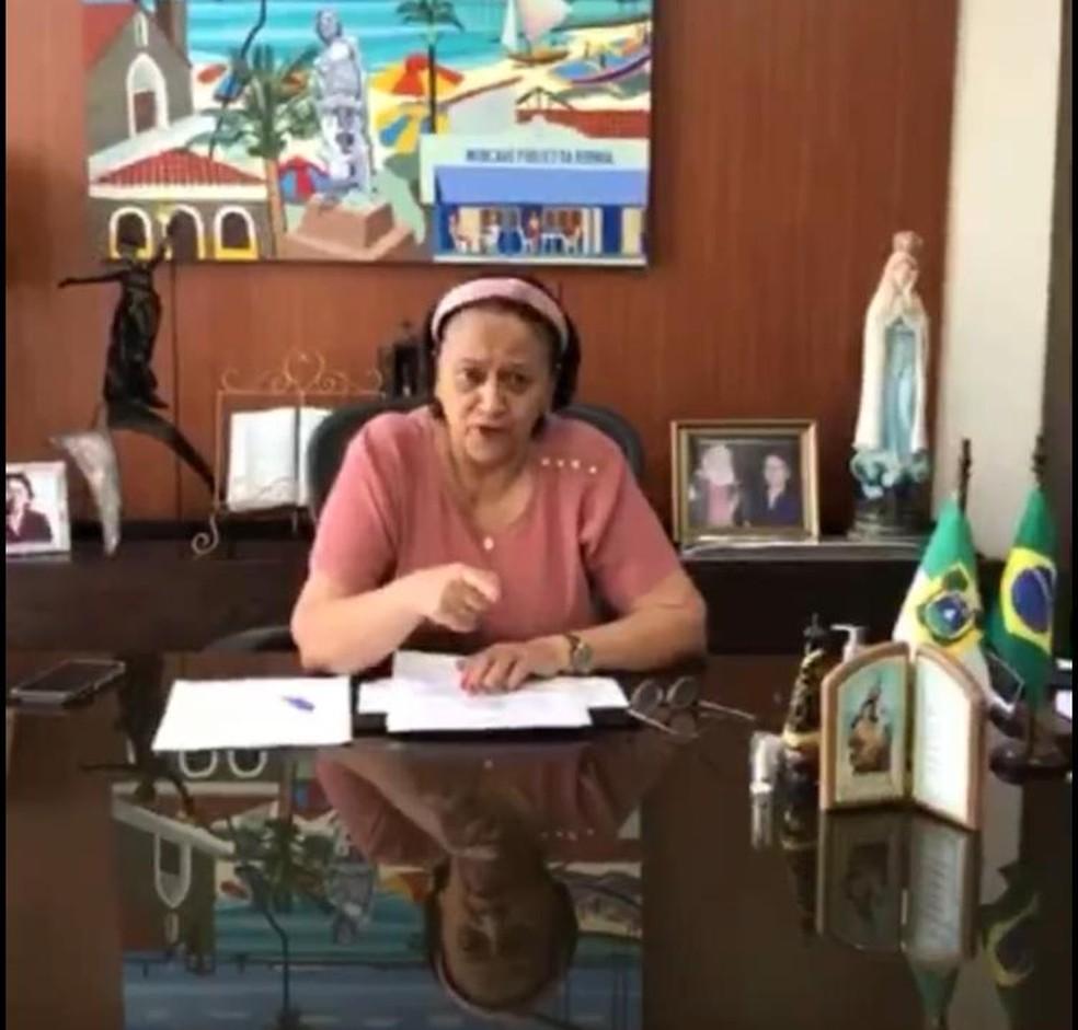 Fátima Bezerra anunciou pagamento em live — Foto: Reprodução