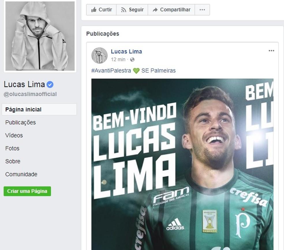 b69424472f ... Lucas Lima posta em sua conta no Facebook a imagem dele com a camisa do  Palmeiras