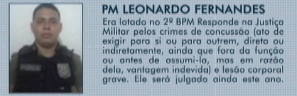 PM Leonardo Fernandes foi condenado por associação criminosa — Foto: Reprodução/ TV Liberal