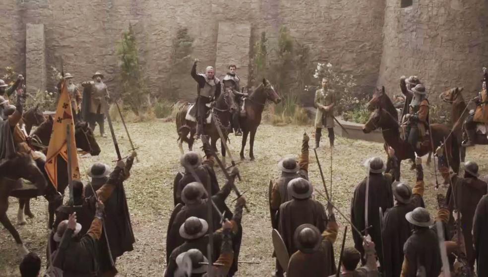 O rei de Lastrilha faz um discurso emocionado para seu exército (Foto: TV Globo)