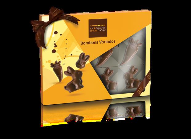 Caixa de Figuras de Páscoa (144g) I Chocolate ao leite em formato de coelhinho, carinha de coelhinho e cenourinha I Da Chocolates Brasil Cacau, R$ 37,90 (Foto: Divulgação)