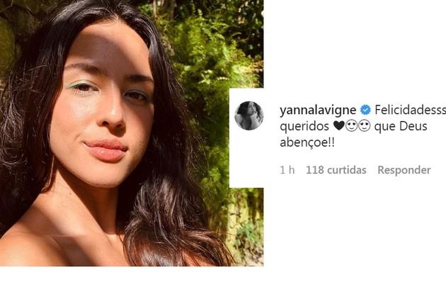 Yanna Lavigne também deixou sua mensagem carinhosa ao casal (Foto: Reprodução)