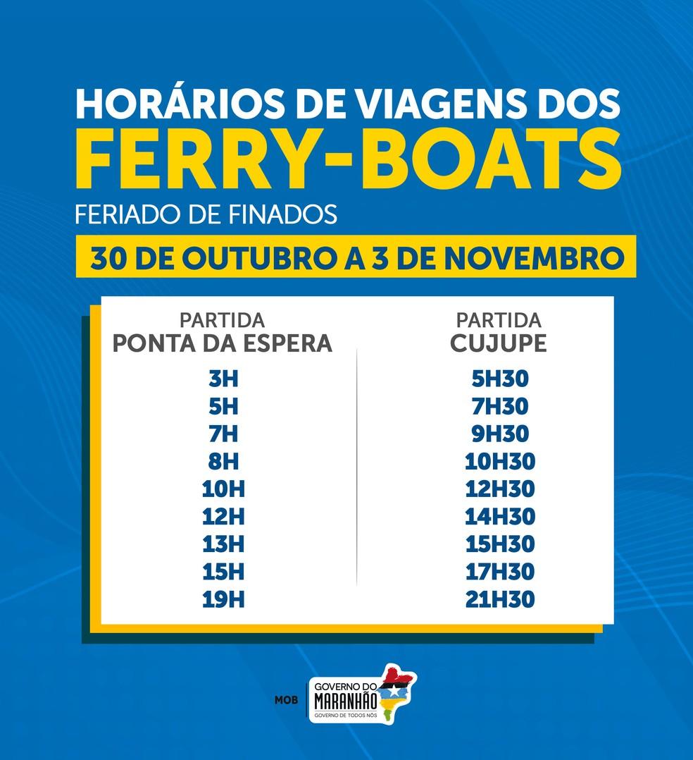 MOB divulga horário das viagens de ferry-boats durante o feriado de finados — Foto: Divulgação/MOB