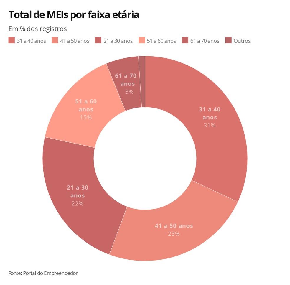 Total de MEIs por faixa etária — Foto: Arte G1