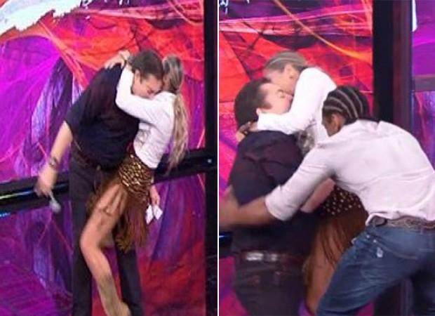 Faustão leva tempo após abraço caloroso de Adriane Galisteu (Foto: Reprodução/TV Globo)