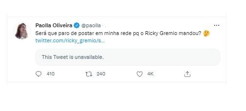 Paolla Oliveira responde hater no Twitter (Foto: Reprodução/Instagram)