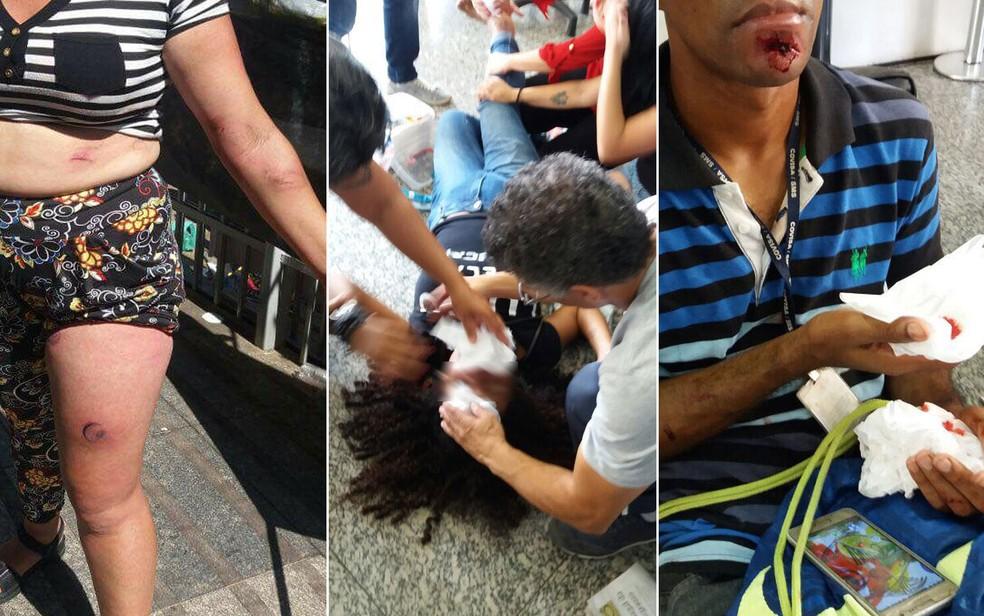 Feridos durante a confusão em frente à Cãmara Municipal de São Paulo (Foto: Arquivo pessoal)