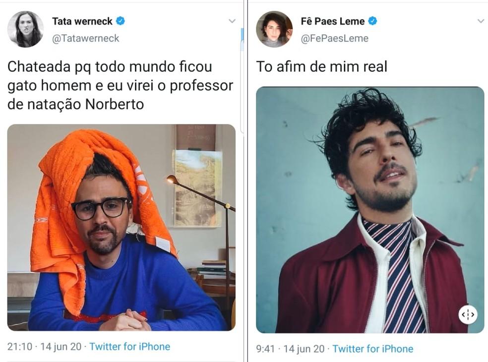 Celebridades postaram suas selfies modificadas no FaceApp no Twitter — Foto: Reprodução/Emanuel Reis