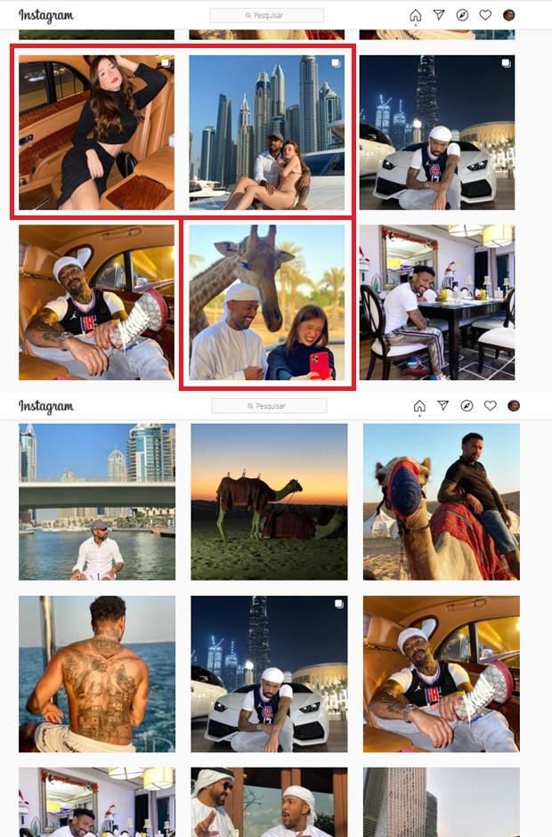 Duda do Borel deleta fotos com Duda Reis de seu Instagram; antes (acima) e depois (abaixo) (Foto: Reprodução/Instagram)