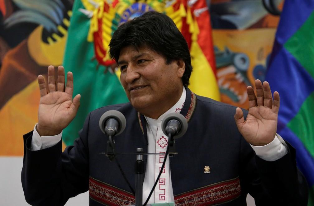 Evo Morales foi eleito presidente da Bolívia pela 4ª vez — Foto: David Mercado/Reuters
