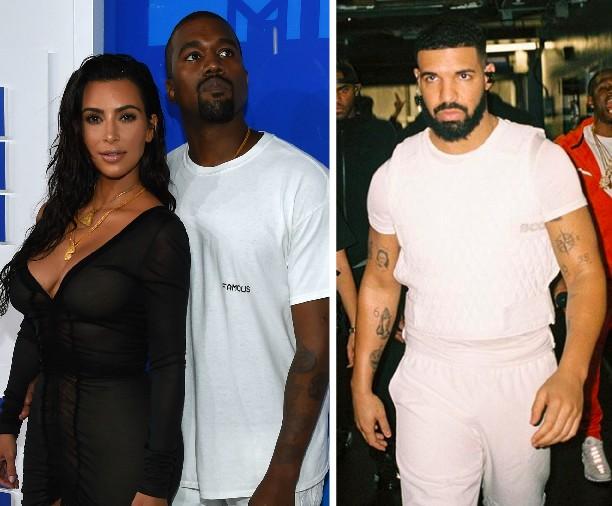 Kim Kardashian com Kanye West e Drake (Foto: Getty Images/Instagram)
