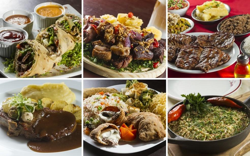 Pratos dos restaurantes: Café Nice, Bottegas, Mourão, Kabanas, Cantinho Frio  e Cateretê Bueno — Foto: Rogério Neves/Brasil Sabor
